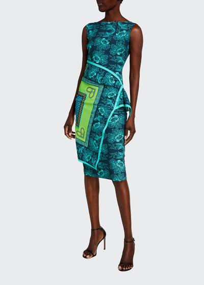 Printed Flap-Waist Sleeveless Dress