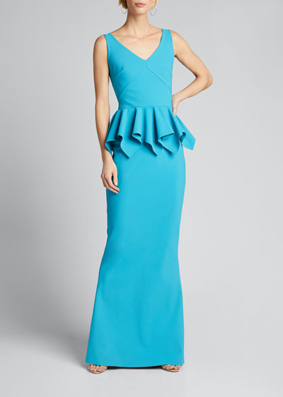 V-Neck Sleeveless Jersey Peplum Gown