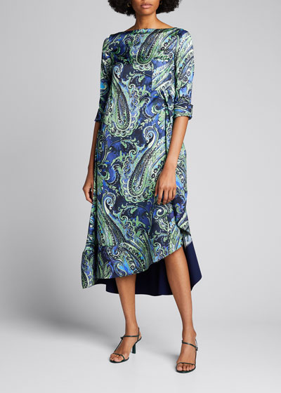 Paisley Boat-Neck Asymmetrical Midi Dress