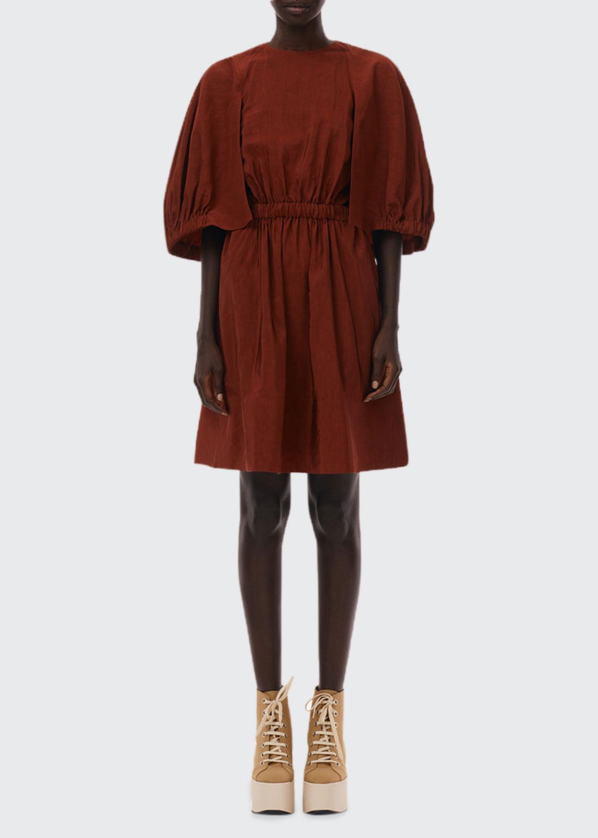 Tibi GEMMA SHIRRED WAIST FIT-&-FLARE DRESS