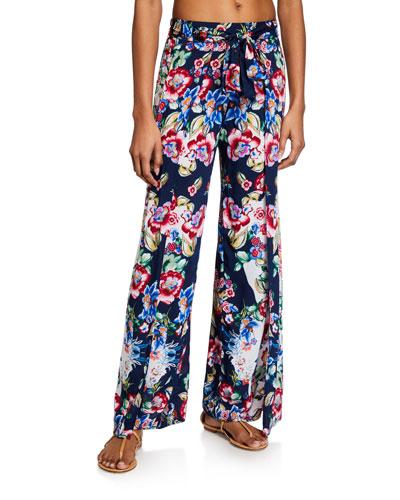 Maya Floral-Print Wrap Pants