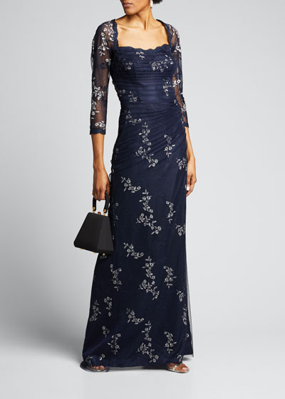 3/4-Sleeve Satin Gown with Tulle Overlay & Floral Embroidery