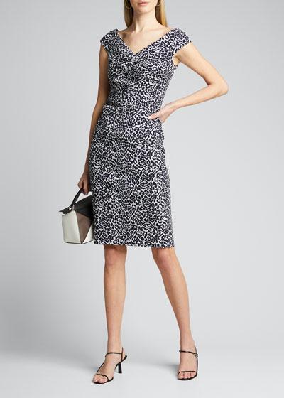 Animal Stretch Jacquard Cap-Sleeve Draped Dress
