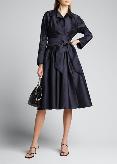 Envelope-Collar Cinch-Waist Full Skirt Taffeta Shirt Dress