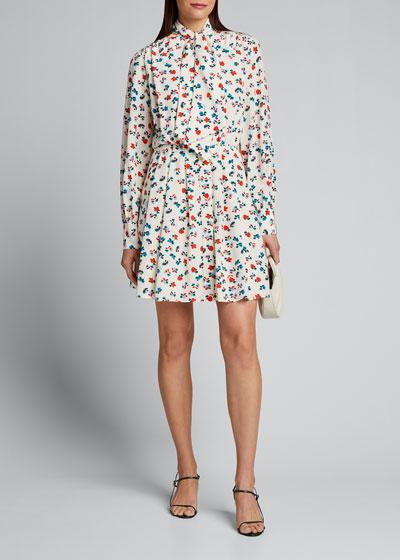 Floral Printed Tie-Neck Shirt Dress