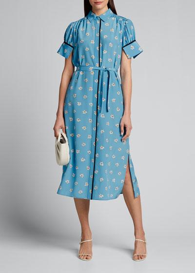 Floral Printed Short-Sleeve Silk Shirt Dress