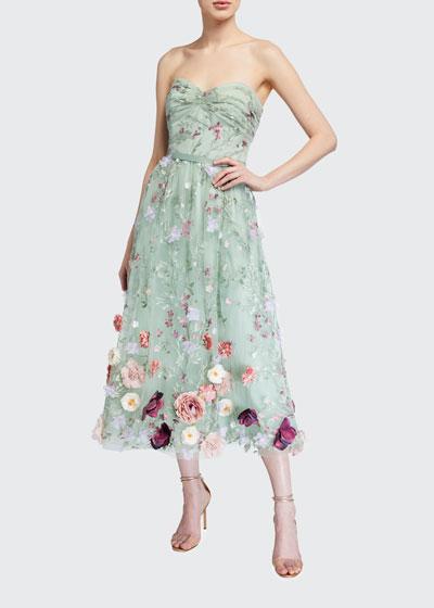 Strapless Embroidered Draped-Bodice Midi Dress