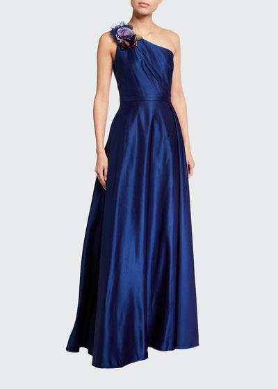 One-Shoulder Draped Satin Gown w/ 3D Flower Applique