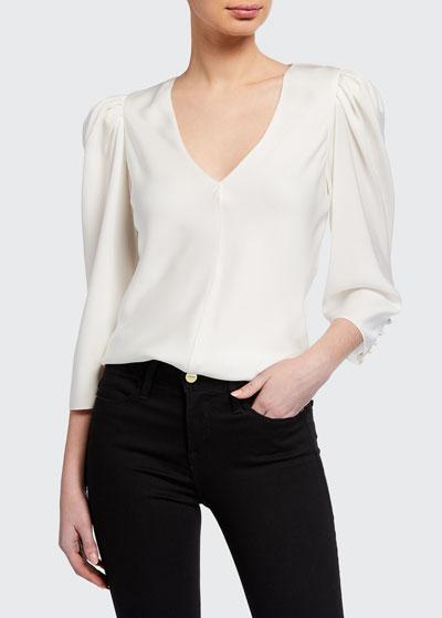 Shirred V-Neck 3/4-Sleeve Top