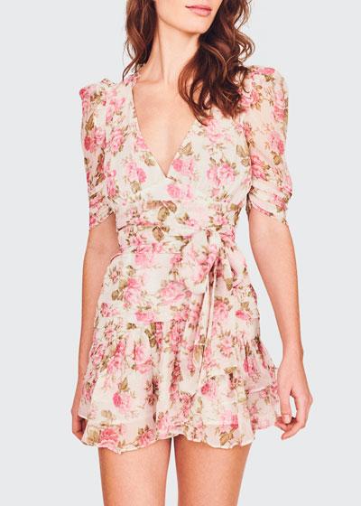 Arlo Floral Silk Tie-Waist Dress