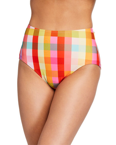 plaid high-waist bikini swim bottom