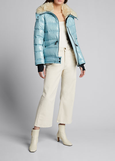 Arabba Shiny Puffer Jacket with Oversized Fur Collar.