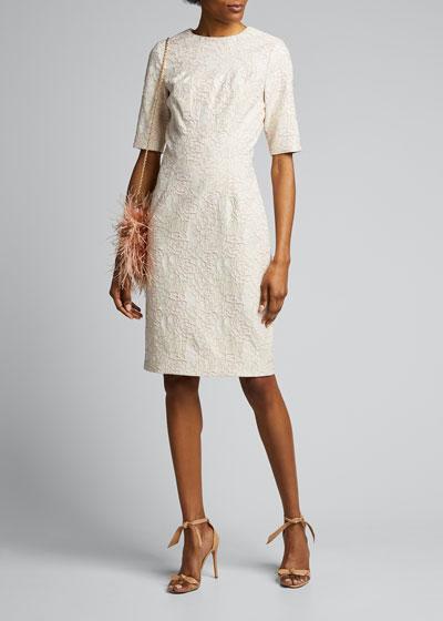 Elbow-Sleeve Stretch Jacquard Sheath Dress