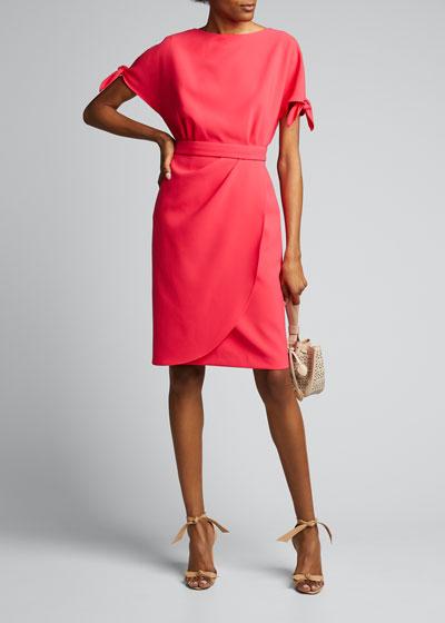 Tie-Sleeve Drape-Skirt Crepe Dress