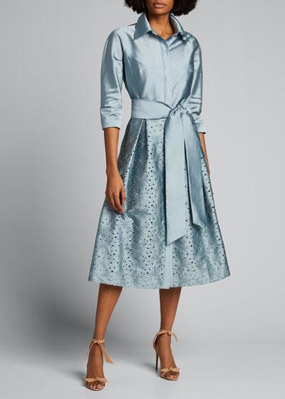 Taffeta Shirt Dress w/ Eyelet Skirt