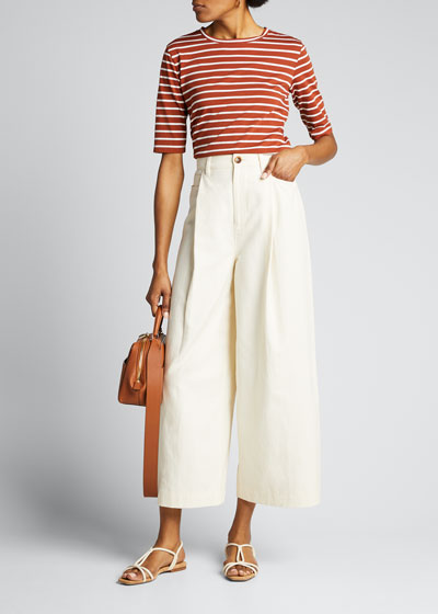 Casual Cropped Wide-Leg Pants