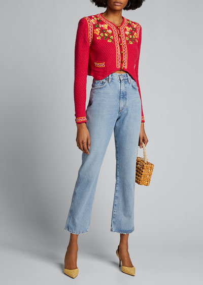Flynn Cropped Cardigan with Embroidery