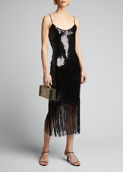 Ayleen Sequin Fringe-Hem Midi Dress