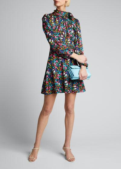 Adele Garden Floral Print Tie-Neck Stretch Silk Dress