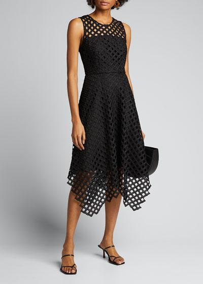 Annemarie Lattice Embroidered Handkerchief Dress