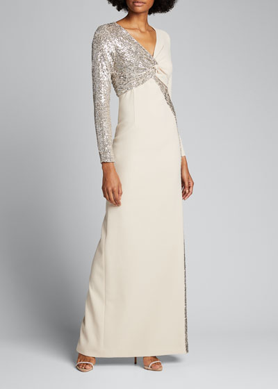 Sequin Trim Twist-Front Long-Sleeve Crepe Gown