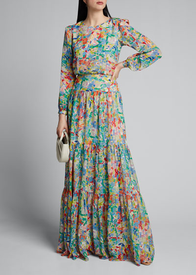 Isabel Printed Tiered Long Dress