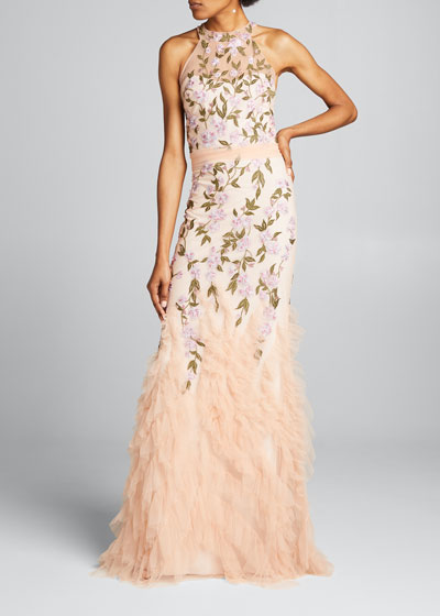 Floral Embroidered Ruffle-Hem Halter Gown