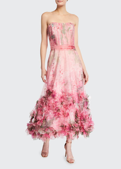 Strapless Watercolor Printed Textured Tulle A-Line Dress