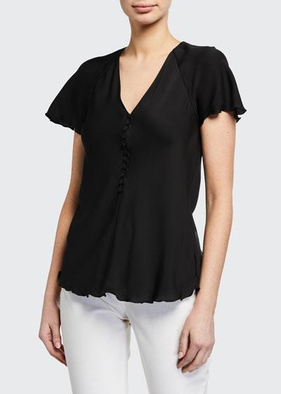 V-Neck Button-Front Silk Top