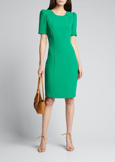 Short-Sleeve Sheath Dress w/ Buttons
