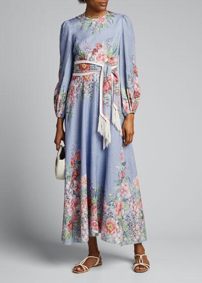 Bellitude Floral Long-Sleeve Dress