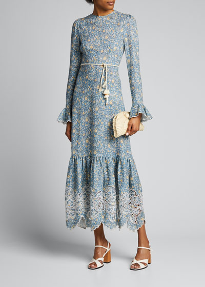 Carnaby Scalloped Frill Long Dress