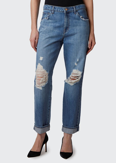 Tate Boy-Fit Destructed Ankle Jeans