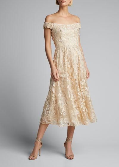 Off-the-Shoulder 3D Floral Cocktail Dress