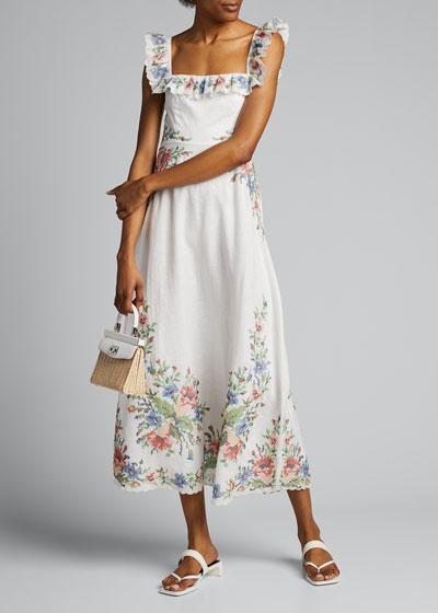 Juliette Floral-Trim Cross-Stitch Ruffle Dress