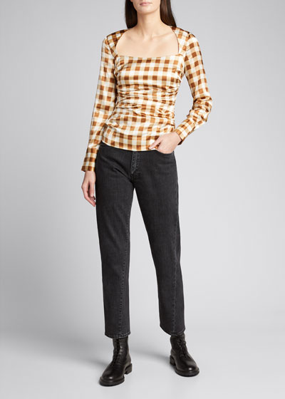 Gingham Ruched Long-Sleeve Satin Blouse