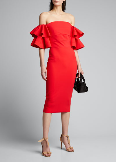 Parvati Off-the-Shoulder Ruffle-Sleeve Sheath Dress