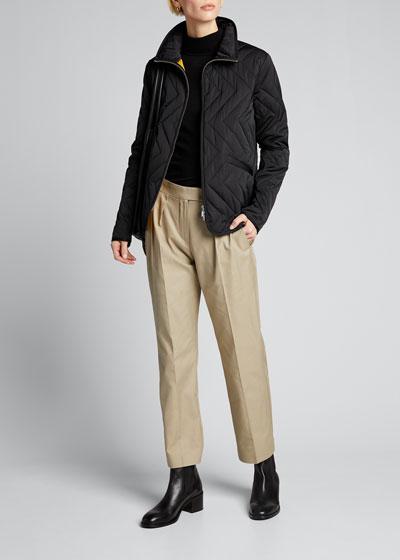 Chevron Quilted Zip Jacket
