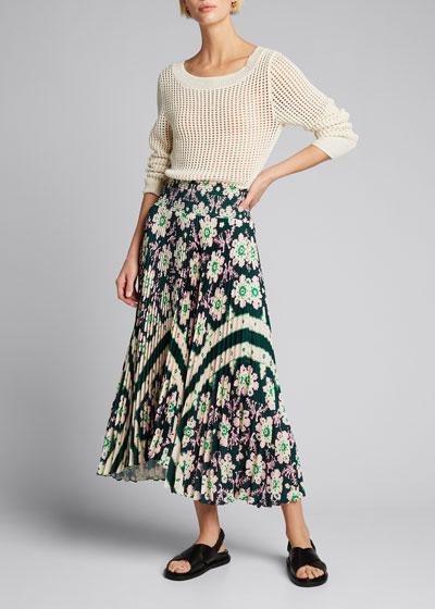 Sonali Pleated Floral Midi Skirt