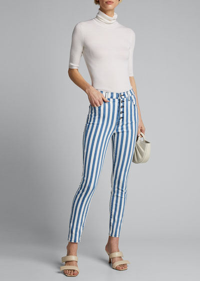 Lillie Striped High Rise Skinny Cropped Jeans