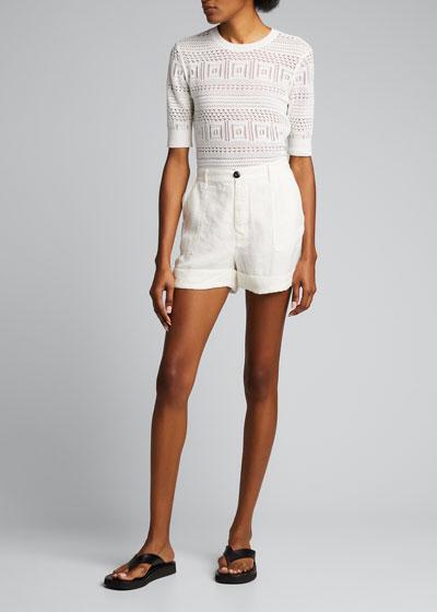 Le Beau High-Rise Cuffed Linen Shorts