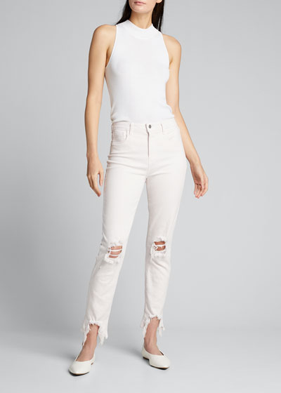 High Line High-Rise Skinny Jeans with Knee Rip