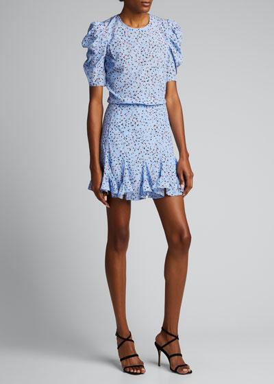 Lila Puff-Sleeve Silk Flounce Dress