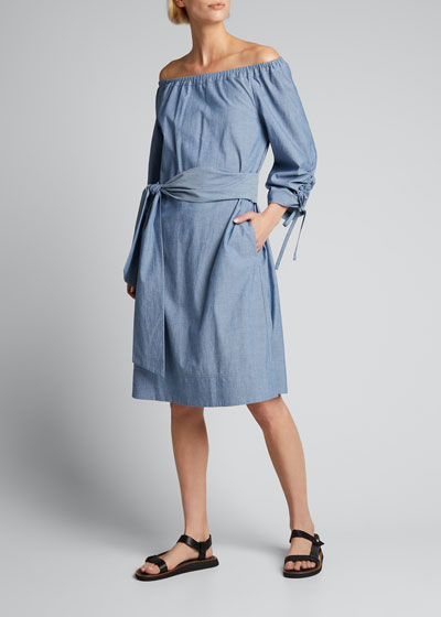 Keene Off-the-Shoulder Chambray Dress