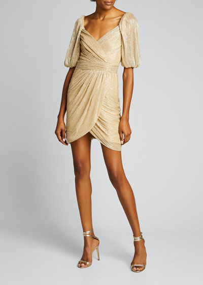 Nina Metallic Ruched Mini Wrap Dress