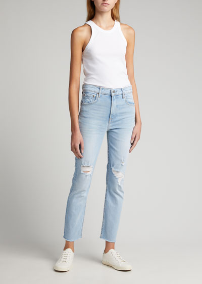 Reed Distressed Straight-Leg Cropped Jeans