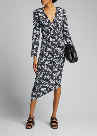 Chana Floral Long-Sleeve Asymmetric Dress