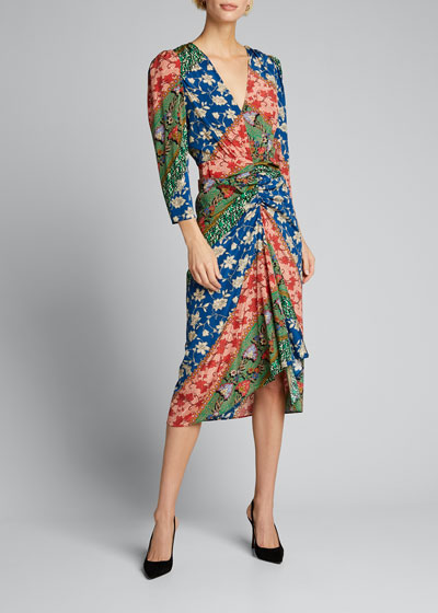 Mary Ruched Patchwork Dress