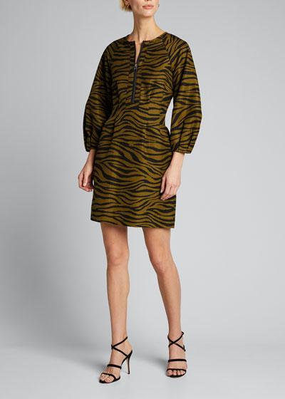 Navi Tiger Stripe Puff-Sleeve Dress