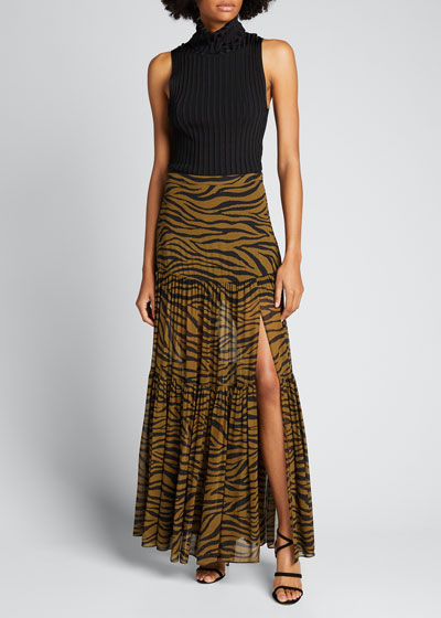 Serence Tiger Stripes Tiered Skirt